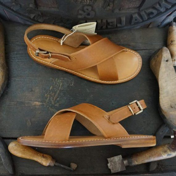 customized made in Italy Man Sandal in leather hand made colored Men handmade sandals in Vegetable tanned Leather Mario Doni