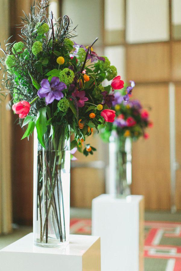 Tall Vibrant Podium Fl Arrangements Ancd The Altar Vintage Glam Wedding At Mandarin Oriental Las