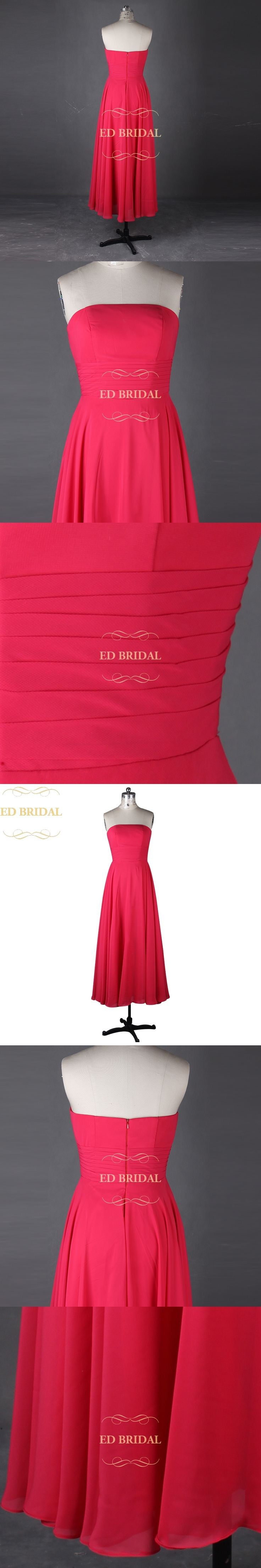 A Line Strapless Tea Length Fuchsia Bridesmaid Dress Maid of Honor Dress Women Special Occasion Formal Party Gown robe de soiree