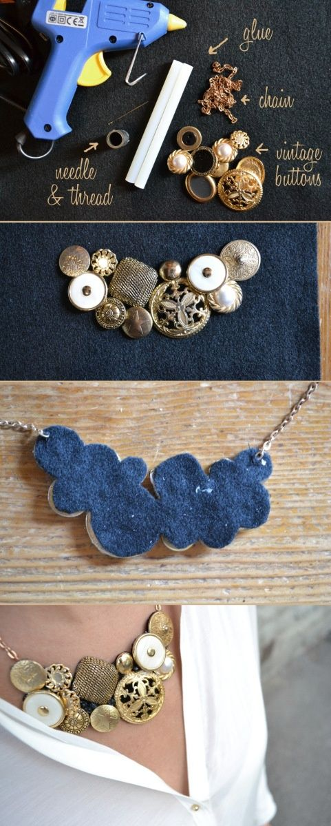 #KatieSheaDesign ♡❤ ❥ ▶ DIY necklace using vintage inspired buttons. This DIY is very simple. There is no needle and thred, and since the back is covered in felt no...