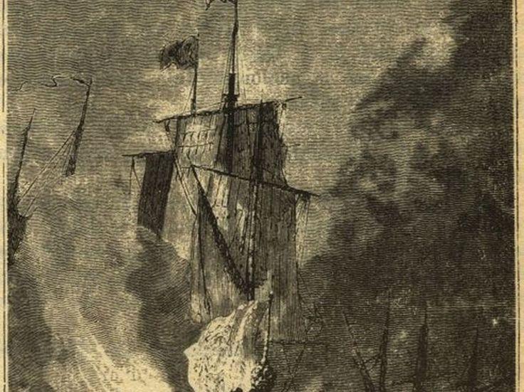 La batalla de Rande, según una ilustración original de 20.000 leguas de viaje submarino, de Julio Verne (1869)