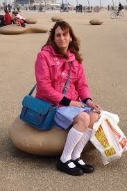 Image result for kenneth taylor coventry what a lovely picture of Katie/kenneth at Blackpool seafront dressed as a little schoolgirl in her blue gingham school dress with White pelerine knee socks and he girls black Mary Jane shoes Katie is dressed how a little schoolgirl should be