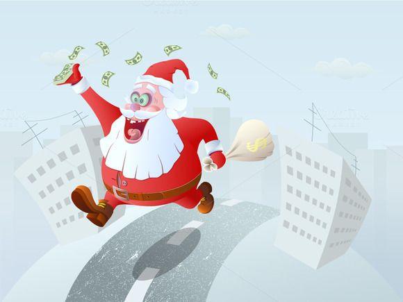 Running Winner Santa Claus by Kruglikov Art Centre on Creative Market