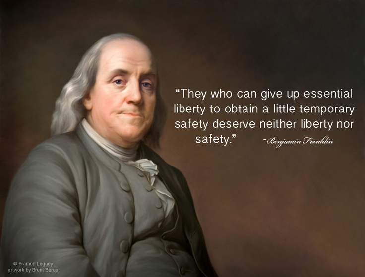 giving up essential liberty to obtain a little temporary safety He was talking about the danger of giving up a liberty, such as freedom of speech , for even a little while, even for a seemingly good reason , such as safety, as being a dangerous thing once we give up even a little liberty, it is hard if not impossible to regain it.