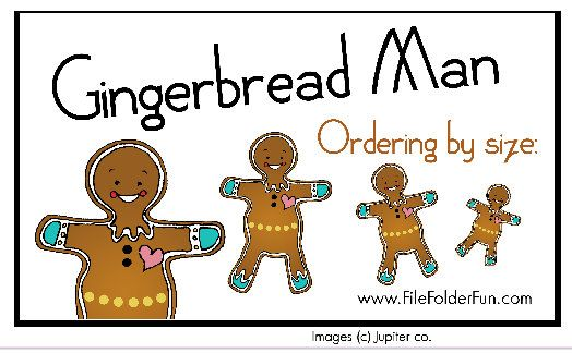 gingerbread man game ordering by size file folder fun; roll a number gingerbread man