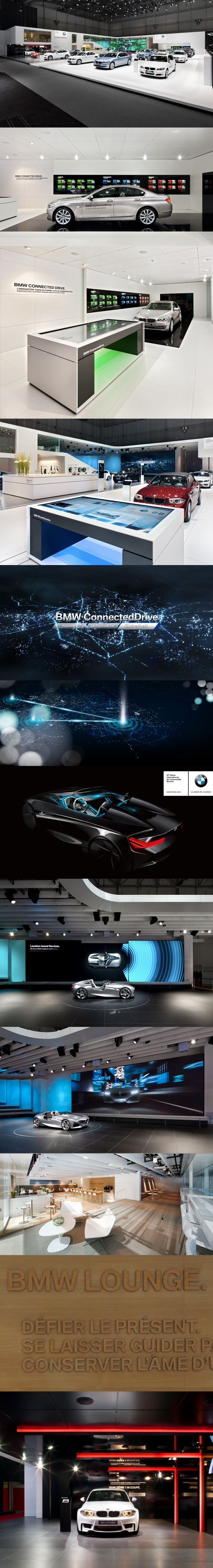 BMW Geneva 2011 | The BMW ConnectedDrive Innovations are the central focus of the entire BMW trade fair stand communications. BMW is presenting the future of intelligent Interaction between the vehicle, its passengers and the vehicle environment. The key was to make complex techology something that the public can experience and appreciate effectively. -   like the interactive screens and impact