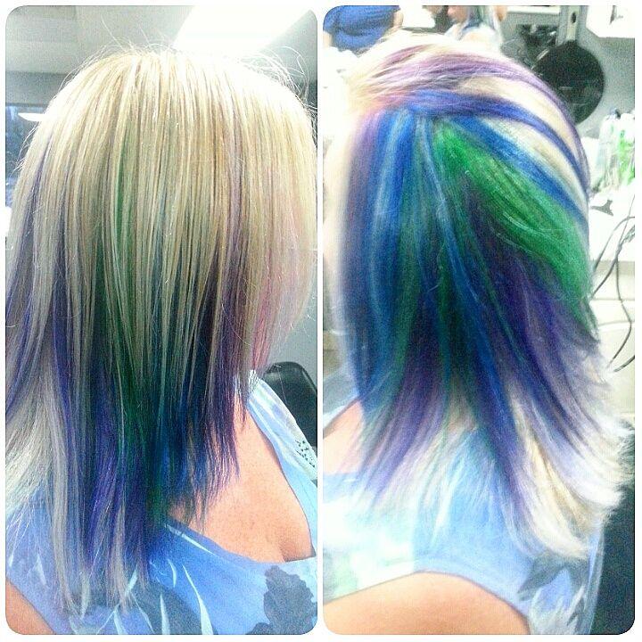 Peacock Hair Color Block Sections on Blonde Hair - http://sarasotabradentonhairsalon.com/peacock-hair-color-block-sections-on-blonde-hair/