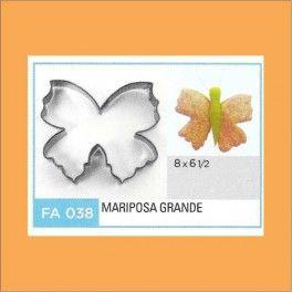 Categoría: Cortantes Metalicos Galletas - Producto: Cortante Metal Mariposa Grande - Fa038 - Envase: Unidad - Presentación: X Unid. - Marca: Flogus
