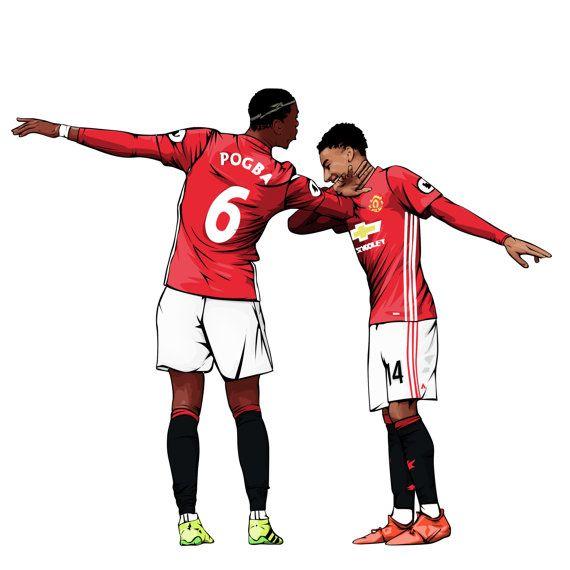Pogba & Lefranc Dab Celebration  Manchester United affiche