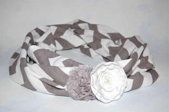 Chevron Scarf in Gray/White - Baby Scarf - Child Scarf - Floral Cowl - Toddler Circle Scarf