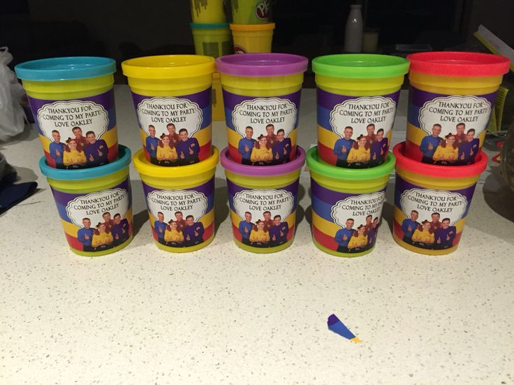 Instead of lollie bags! Playdoh tubs with Stickers from the fabulous u_name_it_favours on eBay! Total cost $30 which included 16 tubs of playdoh 6 left over for us & the 10 stickers + postage.