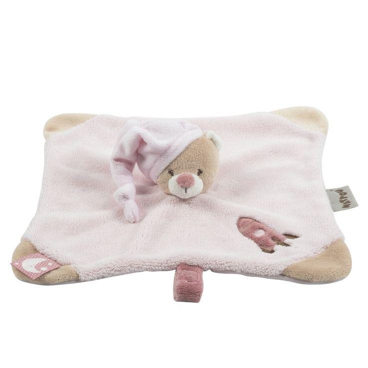 Doudou pink bear 28x28cm - #baby #bebe #doudou #knuffel #knuffelbeer #cuddlytoy #kuscheltier #nattou #papa #mama #mom #dad #father #mother #parents #maman #grossesse #zwanger #pregnant #pregnancy #zwangerschap #enceinte #cuddly #peluche #plush #Plusch #schwanger #geboorte #geburt #birth #naissance #vater #eltern #mutter #ragdoll #cuddly #toy #cadeau #gift #geschenk #bear #beer #ours #bar #roze #pink #rose #rosa