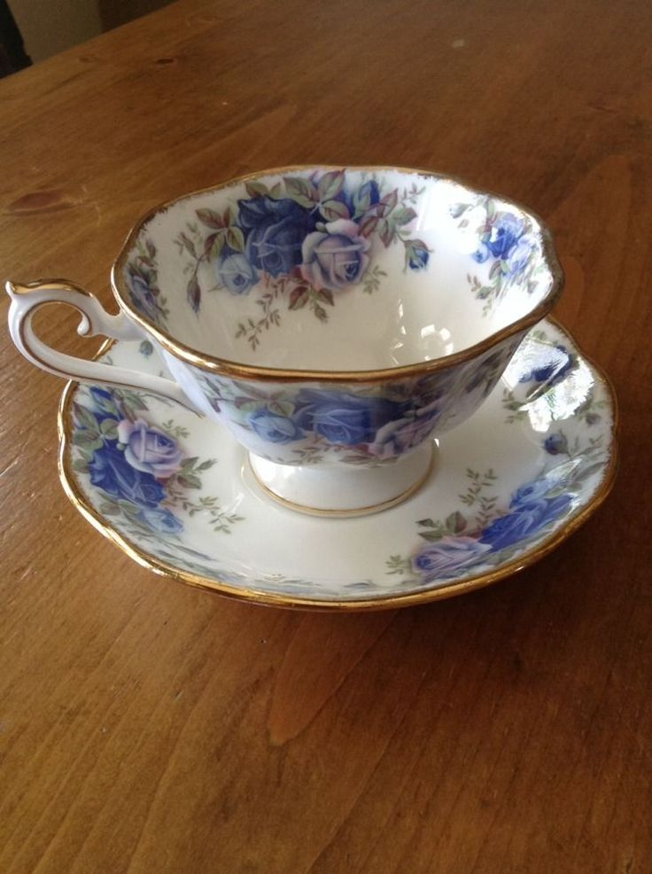 Royal Albert Bone China Moonlight Rose Teacup and Saucer White Blue Roses | eBay