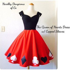 The Queen of Hearts Dress, Sexy ROCKABILLY Burlesque Party Dress, Red Black…