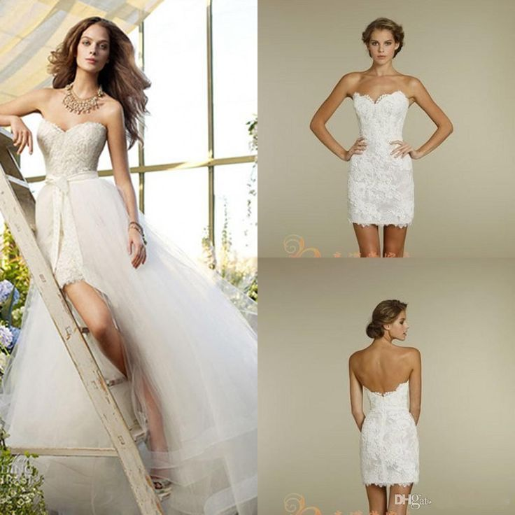 Trendy  Lace Backless Wedding Dresses Short with Detachable Skirt Sexy Strapless Beads bow Sash Two Pieces Bridal Gowns Plus Size Modest