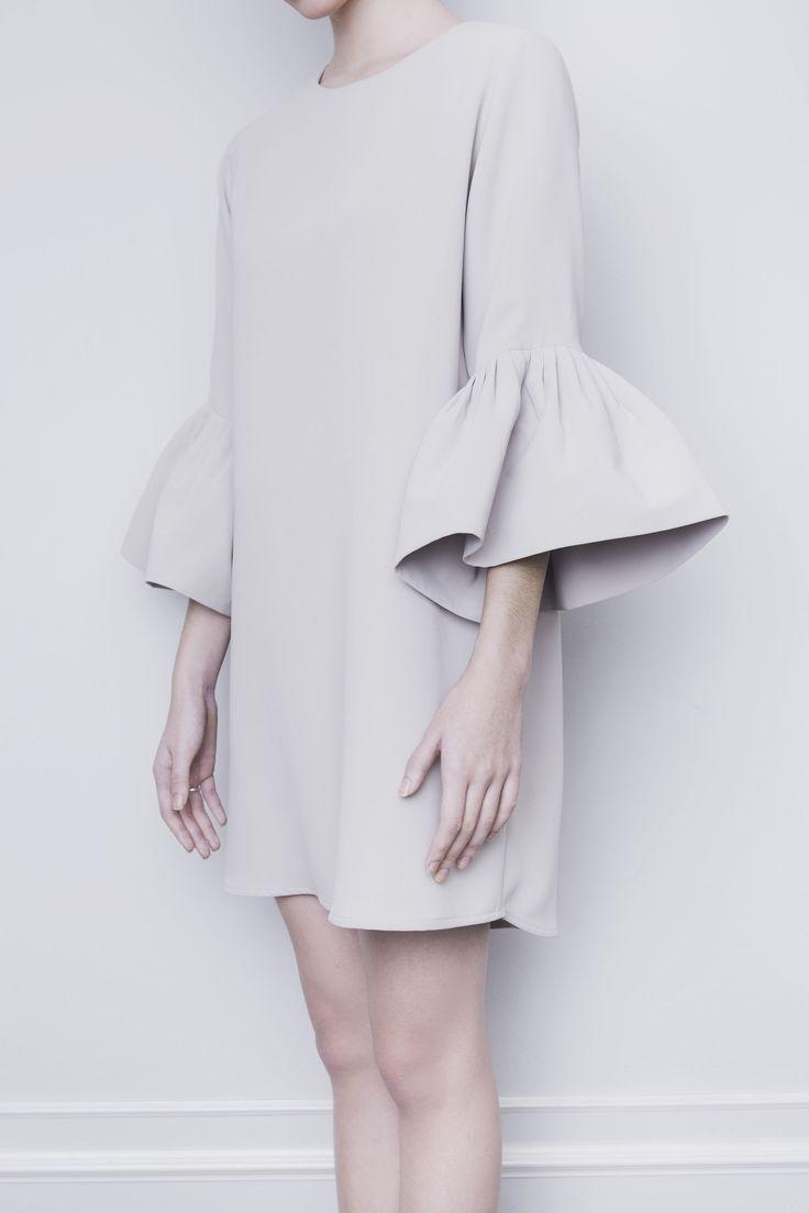 ODESSA Tan Bell-Sleeves Tunic Dress | Vania Romoff