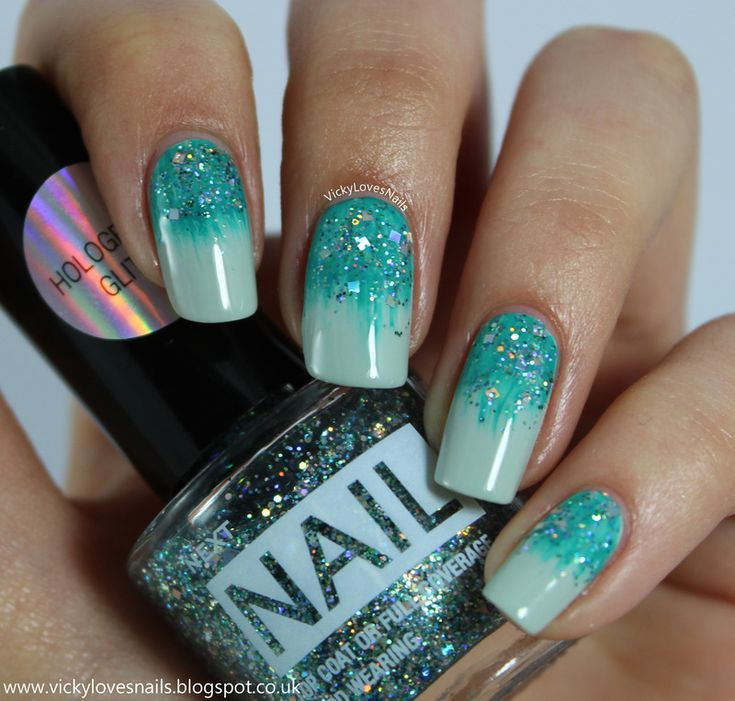 Fan Brush and Glitter Gradients nail art by Vicky Standage