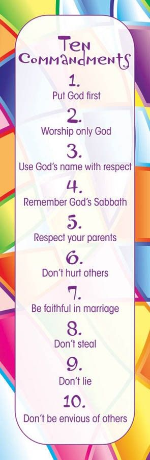kids ten commandments   Kids Ten Commandments Bookmark 25-pak - Parable Christian Stores