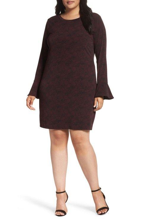 Main Image - MICHAEL Michael Kors Ruffle Cuff Print Shift Dress (Plus Size)