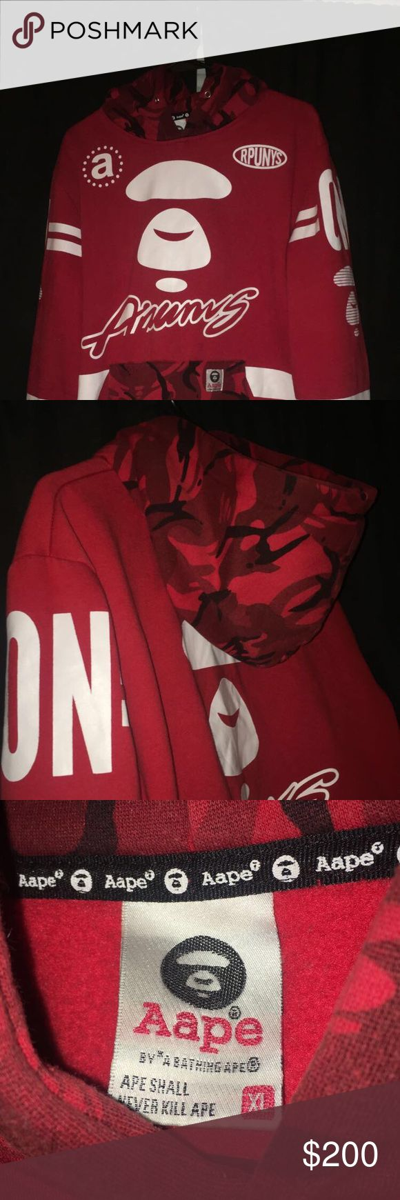 Bape (Aape) hoodie 8/10 condition. Size xl but Bape runs small so fits like a L. Only 10 in each size were mad. Only have seen one at round two in same condition for $340. bape Tops Sweatshirts & Hoodies