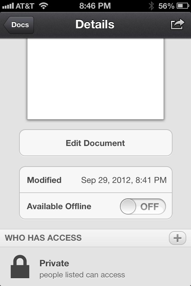 Edit Google Drive Docs via iOS Devices