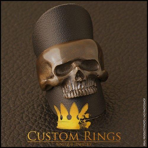 Bronze Geniune Small Skull Ring