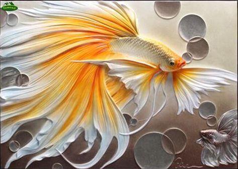 3d Diy Diamond Painting Gold And White Betta Fish Craft Kit Plaster Art Cross Paintings