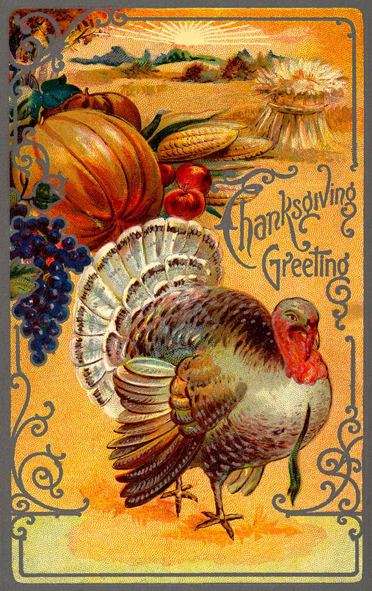 free postcard images vintage | Clip Art of A Vintage Thanksgiving Turkey Card