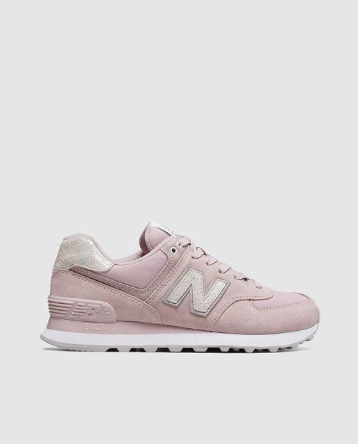bef5fd5a484 Zapatillas de serraje de mujer New Balance modelo 574 de color rosa  tenis