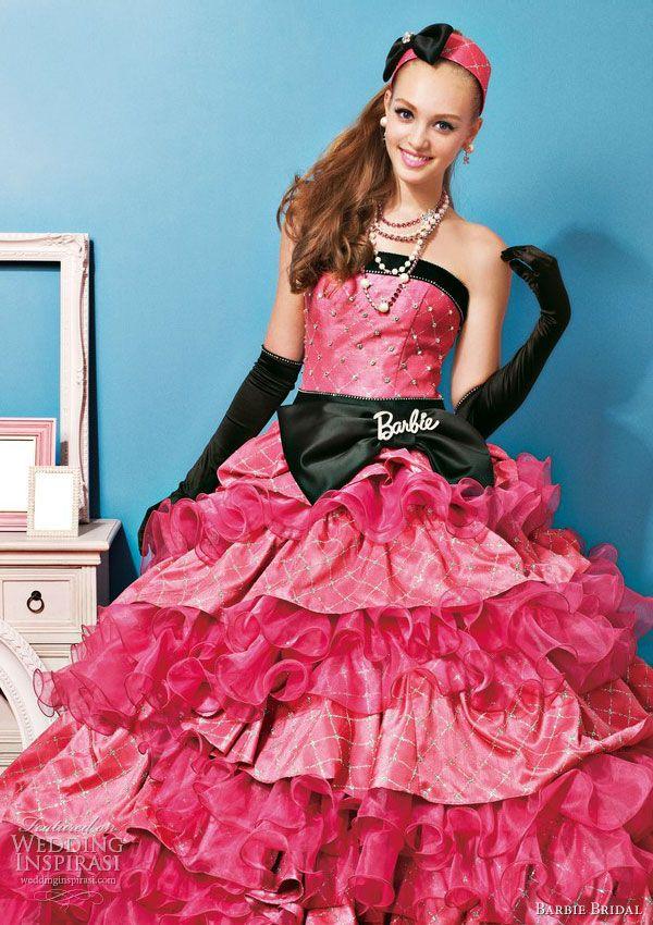 barbie-bridal-pink-black-wedding-dress-2013-ruffle-skirt