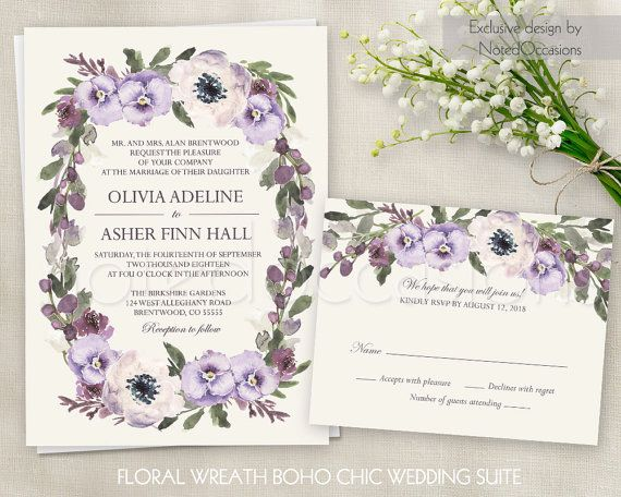Boho Wedding Invitation suite with bohemian watercolor flowers in shades of purple, lilac and touches of greenery.