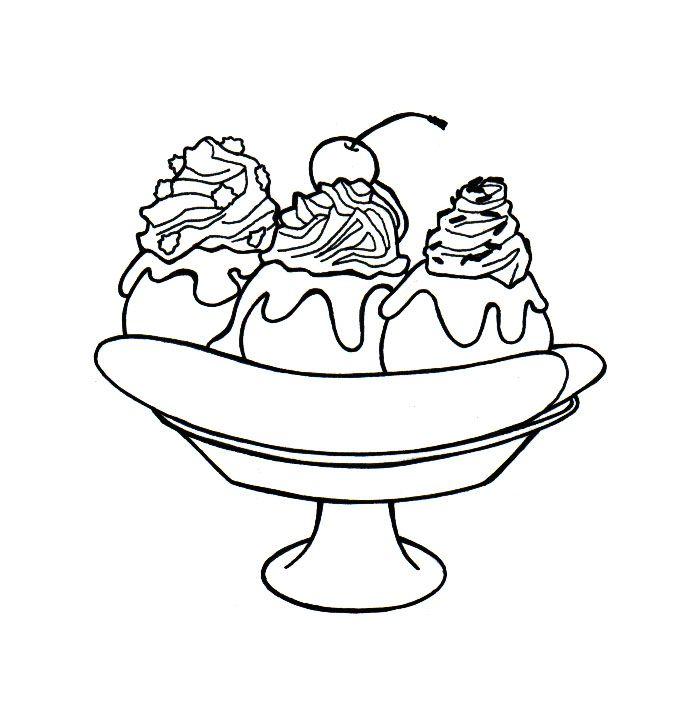 Draw A Banana Split Banana Split Cute Food Drawings Coloring Pages