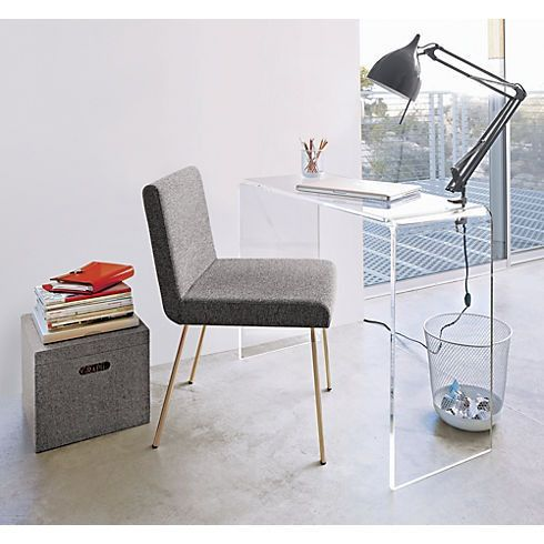 clear desk desks small spaces chair with gold legs office floor mat perspex