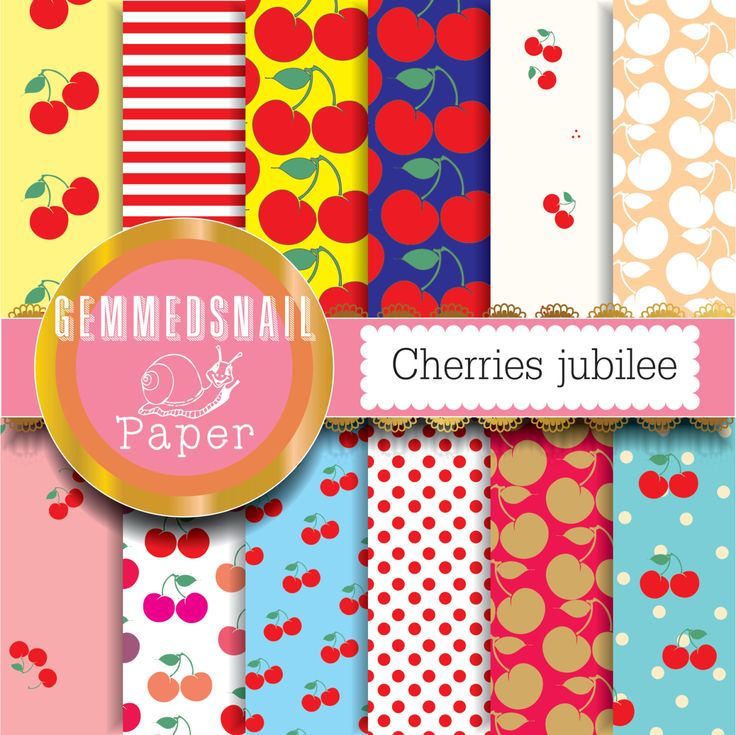 Cherry digital paper, 'cherries jubilee' fruit papers, cherry backgrounds 12 papers
