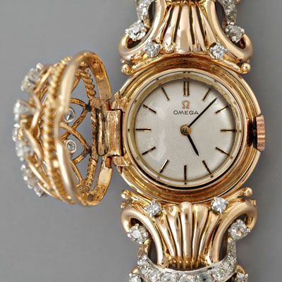 Vintage Watch Ladies Omega Old Mine-cut Diamonds