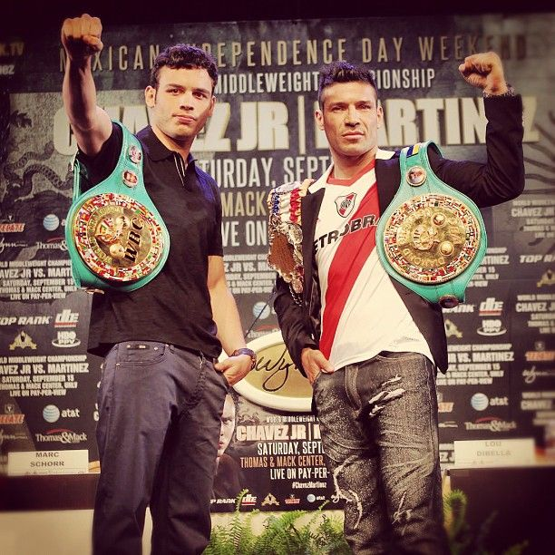 Undefeated #WBC #Middleweight #Champion Julio Cesar Chavez Jr. & two-division world champion Sergio Martinez pose at the #Wynn #LasVegas for their upcoming #Mexican #IndependenceDay #Middleweight #championship battle Saturday night. (Chris Farina/ Top Rank)