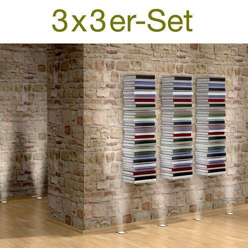 Unsichtbares Bücherregal 3x3er-Set in weiß Design Regal für ca 300cm Bücher   eBay