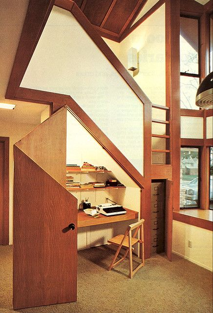 Desk under stairs by The Red Jet on Flickr.