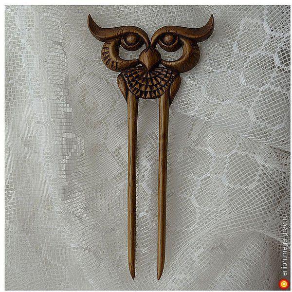 Деревянная Заколка для волос 'Сова' - украшения из дерева, дизайнерская заколка/украшение для волос. МегаГрад - город мастеров и художников