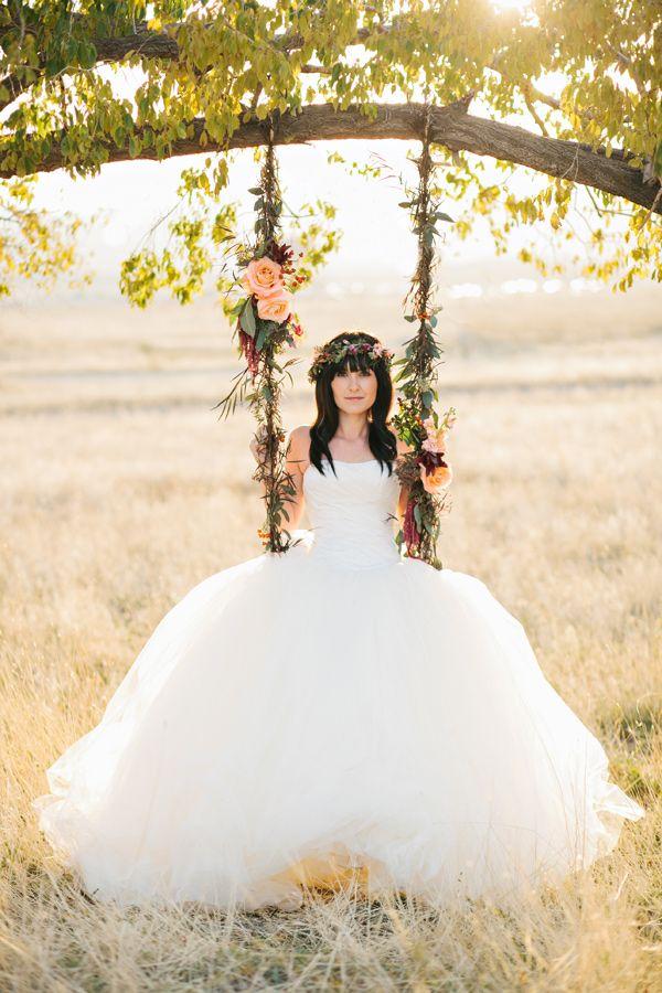 Wedding dress: Bridal Brilliance Rentals - Bohemian Fall Bridal Session by Alyssia B Photography - via ruffled