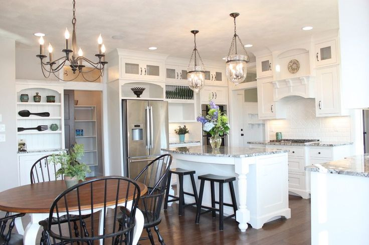 pictures of kitchen with chandelier and pendants traditional | pendant lighting over island Kitchen Farmhouse with bar stool butcher ...