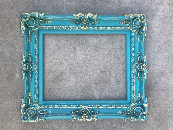 16x20 Shabby Chic Frame Baroque Mirror Turquoise Frame