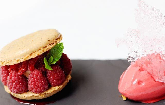 Hazelnut macarons with raspberry sorbet and rose opaline -  Stephen Crane