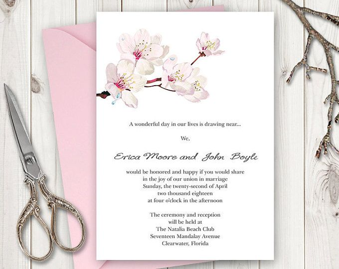 Printable Invitation Digital File Blooming Tree Wedding Inviation DIY You Print Customized Print Read