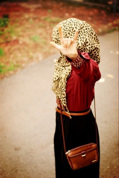 Leopard, Black and Burgundy Hijab outfit - Hashtag Hijab