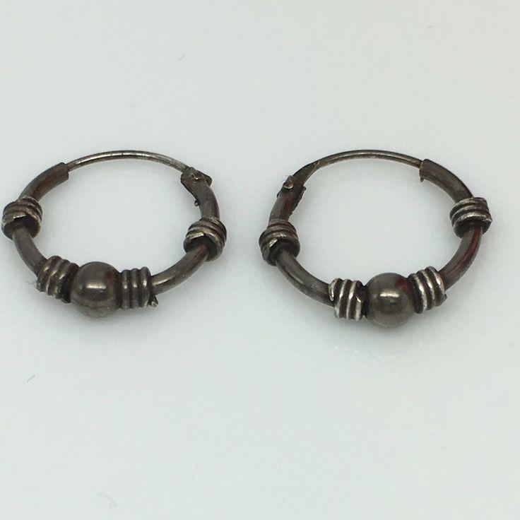 Black wire hoop earrings, men's hoop earrings, sphere and coil accents, EC544A