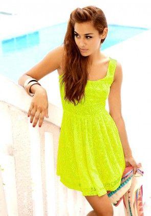 Lace dress, limegreen-neon