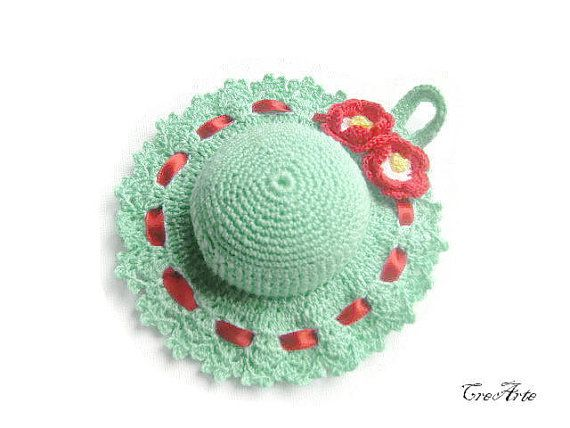 Crochet Pincushion Aquamarine Pincushion by CreArtebyPatty on Etsy