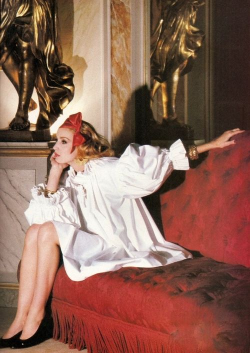 Jerry Hall for Yves Saint Laurent Rive Gauche, 1981.