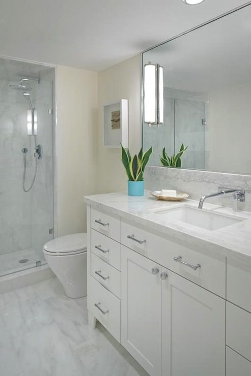 Anne Hepfer Designs: Contemporary bathroom with cream bathroom walls paint color and marble bathroom floor ...